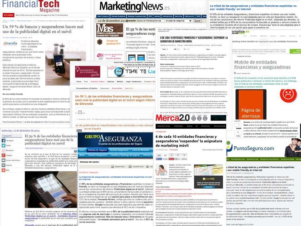 clippling informe ditrendia publicidad móvil entidades financieras y aseguradoras