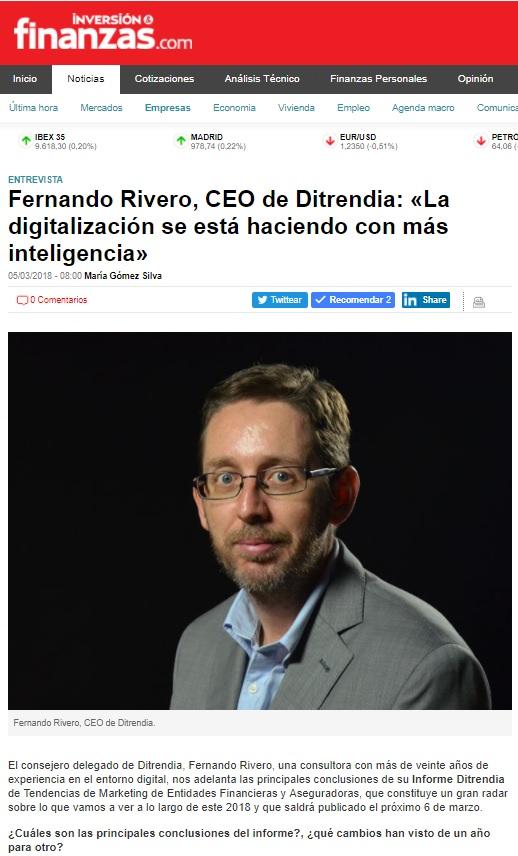 Fernando Rivero en revista Inversión y Finanzas