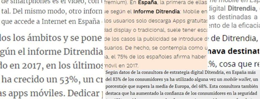 Menciones en medios del informe mobile ditrendia